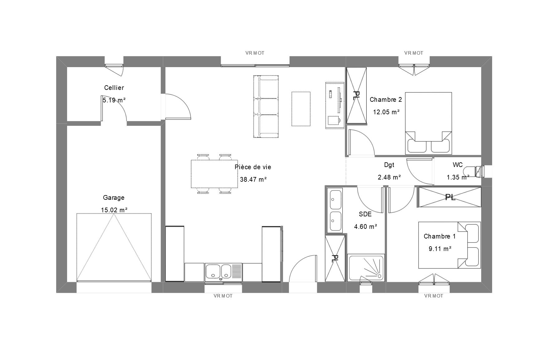 Plan de maison deux chambres avec garage