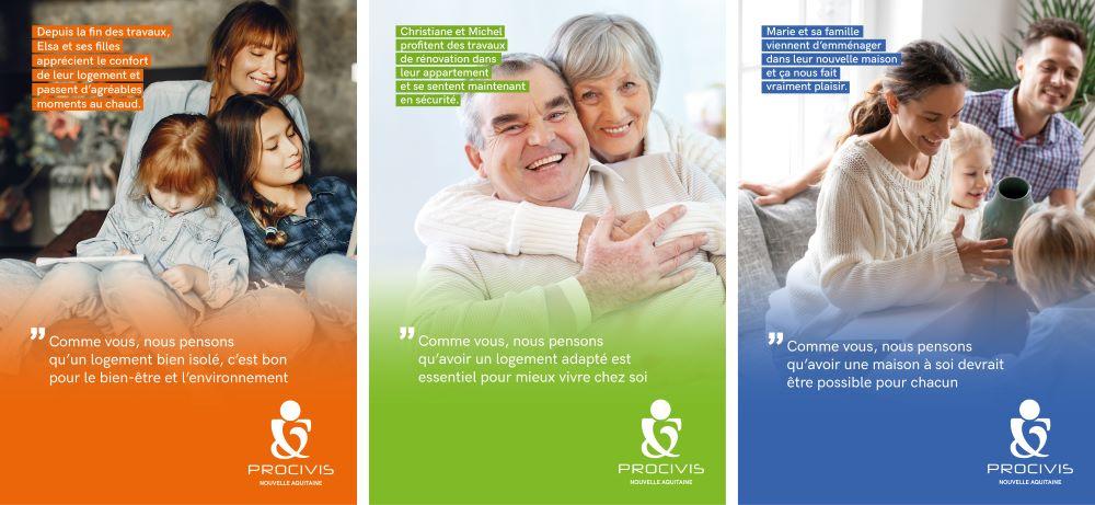 missions sociales de Procivis avec trois familles